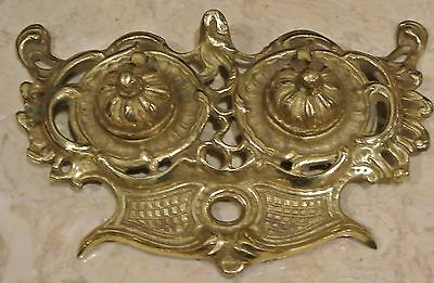 Vintage Double  Cast Brass Ink Well - Pin/dresser Tray-Desk Top Display