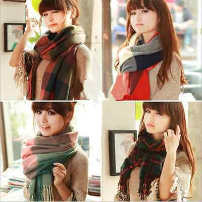 New Fashion Women Blanket Oversized Tartan Scarf Wrap Shawl Plaid  Warm Pashmina