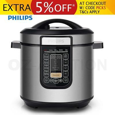 New Philips  Multi-Function Slow Cooker 1000W Stainless Steel Reheat Timer Roast