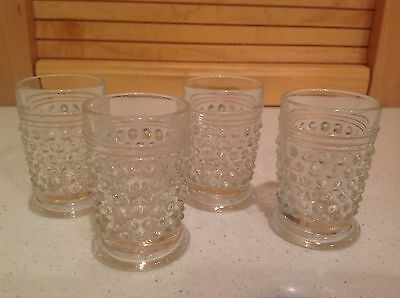 "Vintage Glass Cordials-4 Clear ""Hobnail"" Shot Glasses- Decorative Glass Barware"