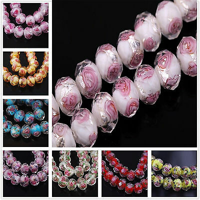 10PC Loose Spacer Beads Jewelry Finding Lampwork Glass Round Faceted Charms