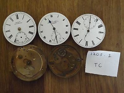 5 Good Antique Gents Pocket Watch Movements Job Lot