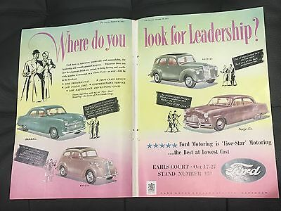 VERY RARE 1951 FORD 2 Page A4 Original Vintage Colour Car Advert