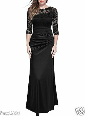 Miusol Retro Slim Ruched Long Maxi Prom Party Evening Dress Black Lace S New