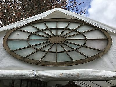 Stunning antique c1830 OVAL gable end window NY state original glass 6' x 3'