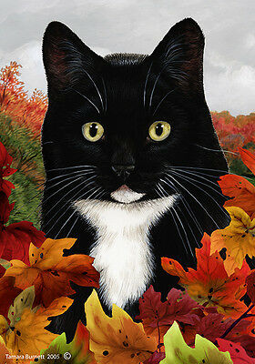 Garden Indoor/Outdoor Fall Flag - Black & White Tuxedo Cat 139501