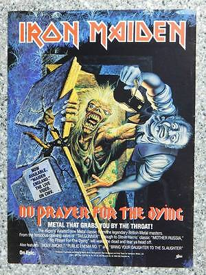 1990 Iron Maiden No Prayer for the Dying Vintage Ad Page Heavy Metal Music Album