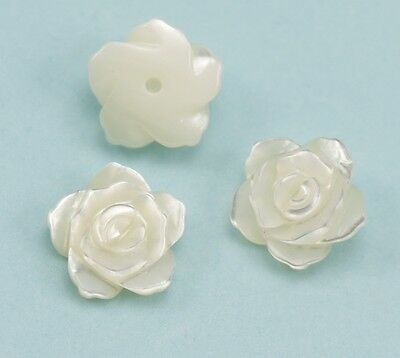 Ivory White Mother of Pearl Shell Carved Rose Flower Beads for Making Earrings