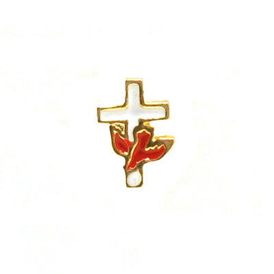 Red Dove on White Cross Lapel Pin