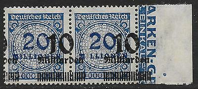 German Reich stamps 1923 MI 335  MarginPair Shifted Ovpts  MNH  VF