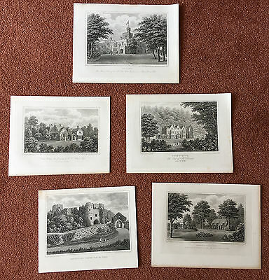 c1830 FIVE Antique Copperplate Engravings Isle of Wight Brannon Carisbrooke Ryde