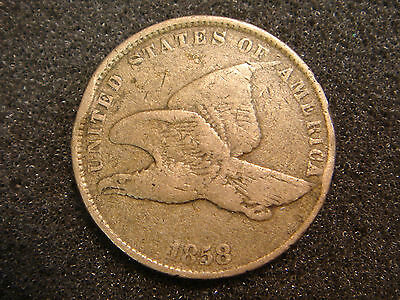 1858 SL Small Letters Flying Eagle Cent F details - rim bumps