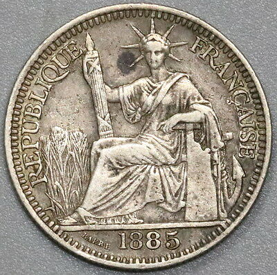1885 French Indo China Silver 10 Cents Coin (17040813R)