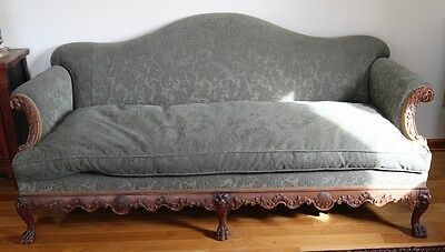 Antique Chippendale style Camelback Carved Sofa 1890-1910
