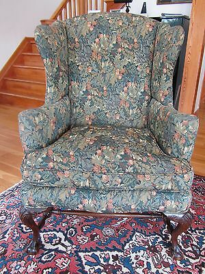 Antique Chippendale Wing Chair with H-Stretcher and Ball-and-Claw Feet late 19th