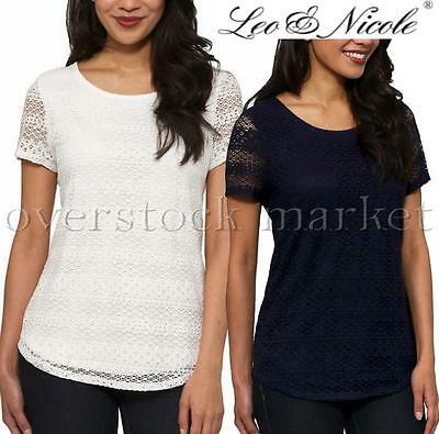 NEW Womens Leo & Nicole Lace Detail Overlay Short Sleeve Shirt! Lace Overlay Top