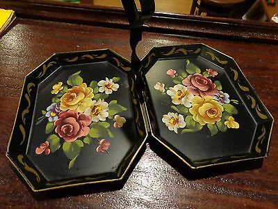 Antique vintage small metal double serving toleware tray rose pattern