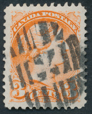 Canada #37 3c Small Queen, Fancy Cross Cancel, VF Used