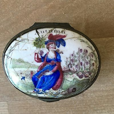 "Superb English Enamel Snuff Box Battersea Bilston ""Autumn"" c.1770"