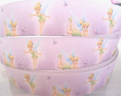"""TINKERBELL character Grosgrain Ribbon 1""""  Scrap Cake Clips Cards  2 yds 5 yds"""