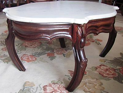 Antique Parlor Table Vintage Victorian Oval White Marble Walnut Wood Coffee