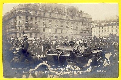 cpa Rare Carte Photo EDOUARD VII à PARIS KING of ENGLAND in FRANCE CUIRASSIERS