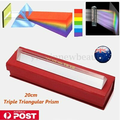 20cm Optical Glass Triple Triangular Prism Physics Refractor Light Spectrum