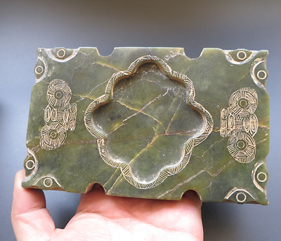 Old Chinese hongshan culture Jade hand-carved beast Ink stone 835g