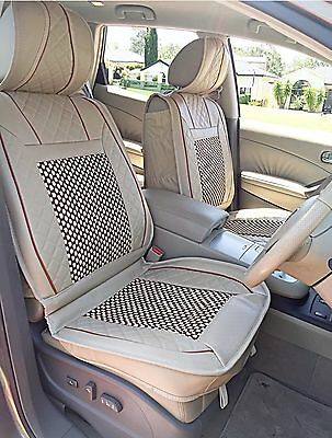 Luxury Universal Full Set leather Front Rear Car Seat  Cover Cream 6pcs