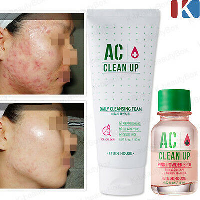 ETUDEHOUSE AC Clean-Up Daily Cleansing Foam Pink Powder Spot Acne intensive care
