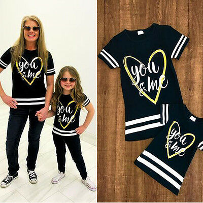 Family Matching Tee Tops Baby Kids Girls Couple Toddler Shirt Clothes T-shirt