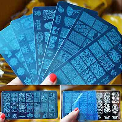 10 Design DIY Stencil Nail Art Image Stamp Stamping Plate Manicure Template Tool