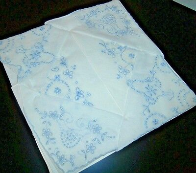 QUALITY VINTAGE WHITE COTTON with HAND EMBROIDERY LADIES HANDKERCHIEFS