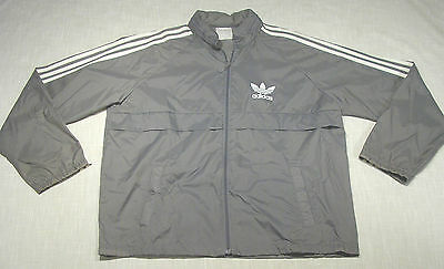 Vtg ADIDAS Nylon Windbreaker Track Jacket (Mid 80s) THREE STRIPE! SUPER CLEAN! L