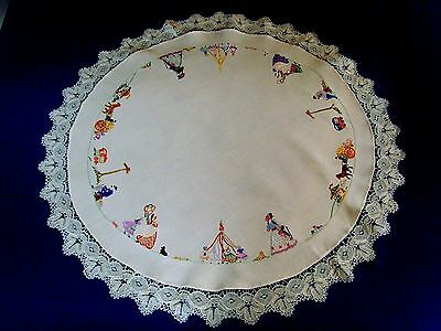 Rare Vintage Hand Embroidered Tablecloth Mayfair Crinoline Lady Maypole Dance
