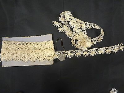 Antique vintage crochet lace trim clothing dolls bear floral 2 pcs 5 + yards