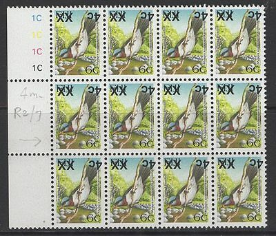 FIJI SGF1325a 2008 4c on 6c BIRDS TYPE IId SURCHARGE INVERTED MNH BLOCK OF 12