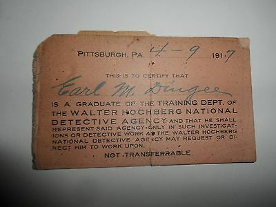 Rare 1917 Business Card WALTER HOCHBERG NATIONAL DETECTIVE AGENCY Pittsburgh PA