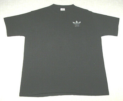 Vtg ADIDAS Poly/Cotton T-Shirt (Late 80s) Black/White TREFOIL LOGO! WOW! L/XL