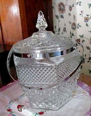 Anchor Hocking Crystal Wexford Glass Large Ice Bucket Or Cookie Jar Chrome Trim