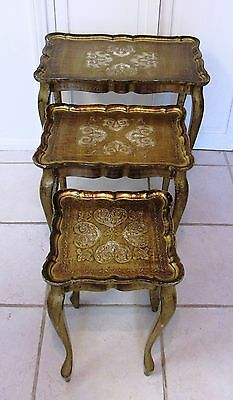 Set Of 3 Vintage Italian Gold Florentine Wooden Stacking Tables