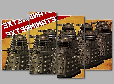 XL Doctor Who The Daleks Exterminate 4 Panel Split Canvas Picture Wall Art