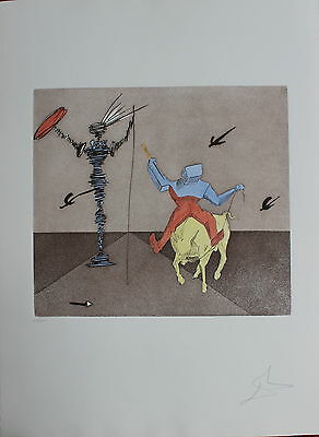 Dali Original Etching Hand Signed Numbered Don Quixote Master And Squire 1981