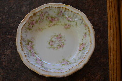6 PIECE SET*Theodore Haviland Limoges*2 DINNER PLATES +*Pink Roses, Double Gold