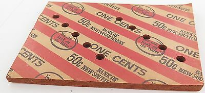 """Pre 1982 Mint Bundle Bank Of New South Wales One Cent """"50C"""" Wrappers."""