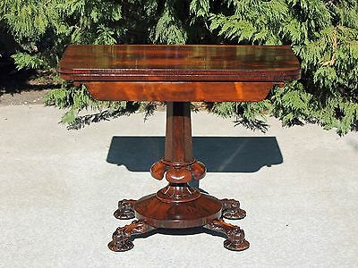 Exceptional Victorian Rosewood Folding Game Card Table Alexander Roux, NY c1850