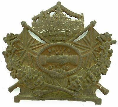 """RARE EARLY 1900's DREADNOUGHT BANK """"UNITED WE STAND"""" LARGISH CAST IRON PLAQUE."""
