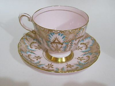 Vintage English China Pink Tuscan Teacup & Saucer Set Gold Gilt Plumes