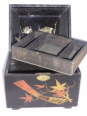 Delightful Antique Japanese Lacquer Needlework/Jewellery Sarcophagus Box c1890