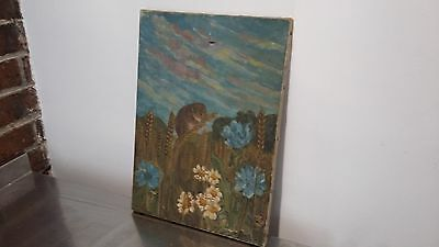 Vintage Oil on Canvas Painting of a Field Mouse